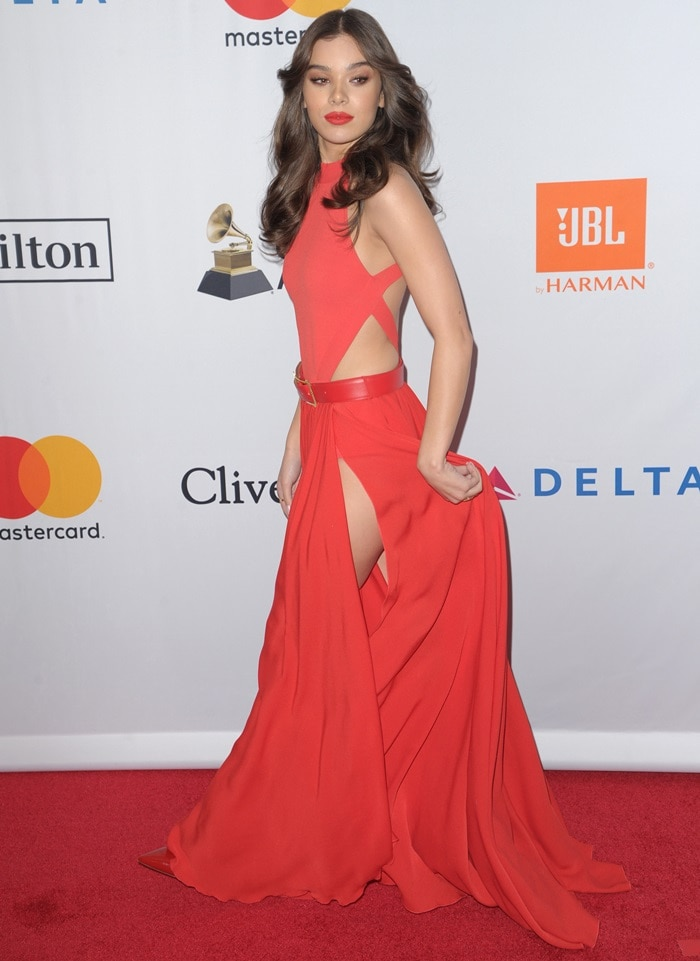Hailee Steinfeld looked lovely in a red Elie Saab dress on the red carpet at Clive Davis' annual Pre-Grammys Party in New York City on January 27, 2018