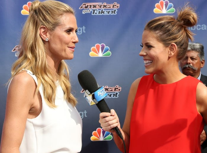 """Heidi Klum participates in an interview on the red carpet of the """"America's Got Talent"""" Season 11 kick off"""