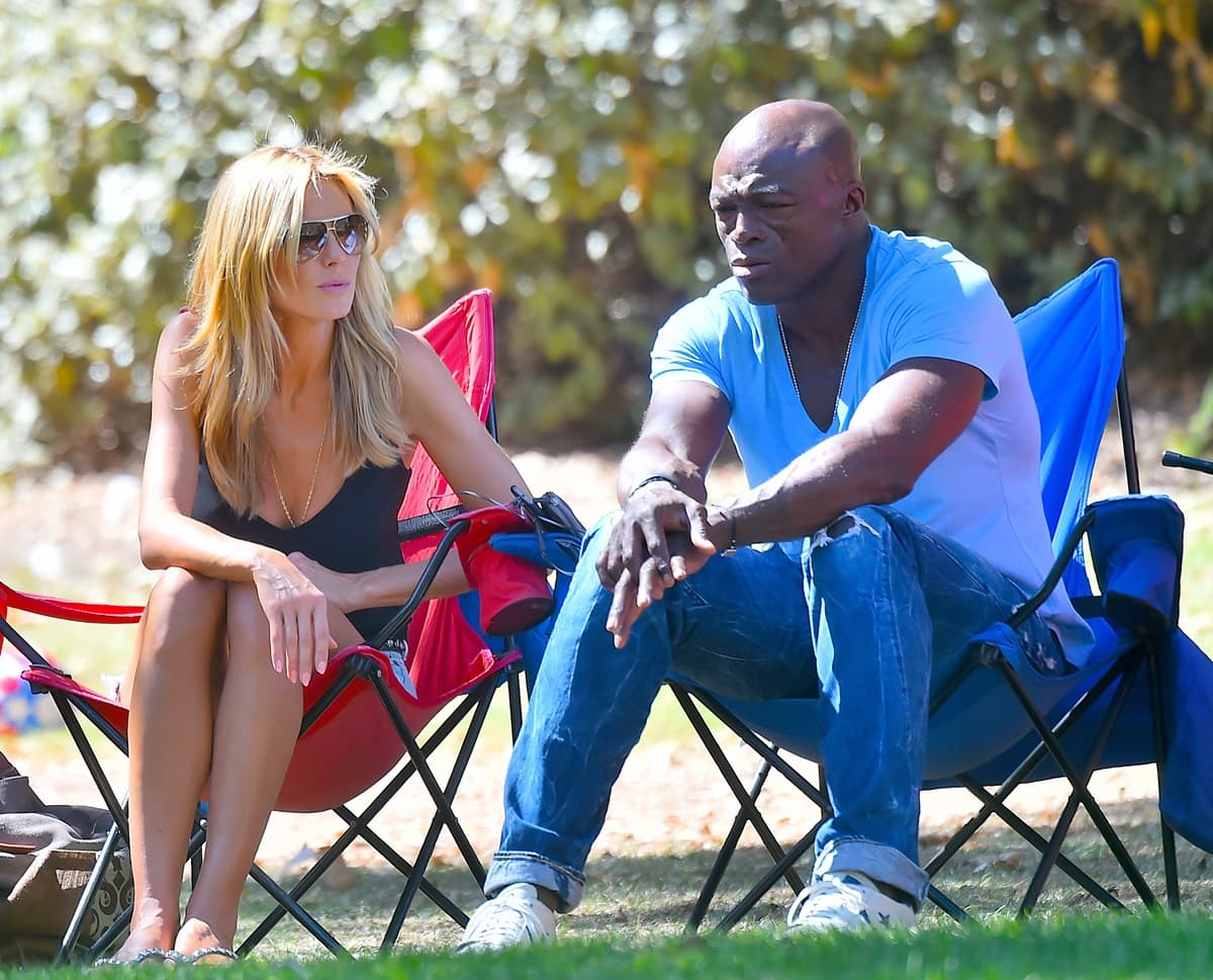 Heidi Klum and ex-husband Seal watch their children play in a soccer game in Brentwood