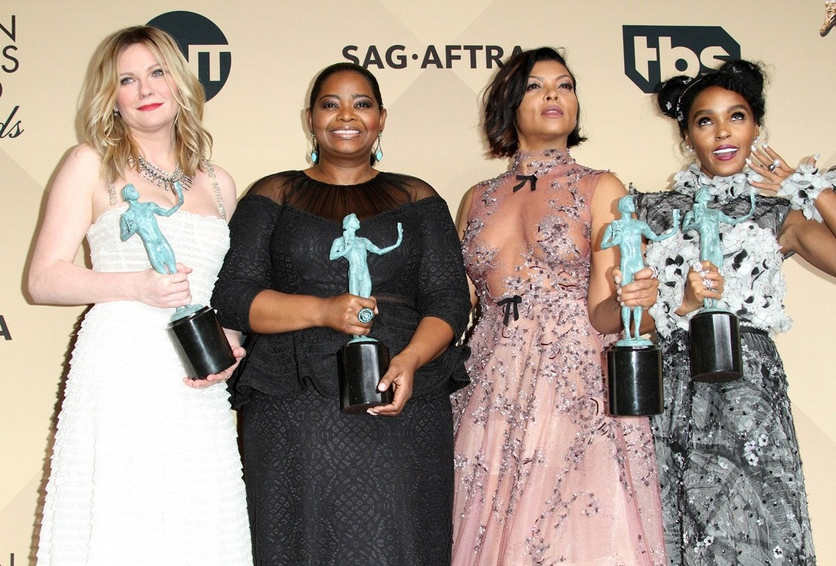 Hidden Figures actresses Kirsten Dunst, Octavia Spencer, Taraji P. Henson, and Janelle Monae celebrate their Screen Actors Guild Award for Outstanding Performance by a Cast in a Motion Picture