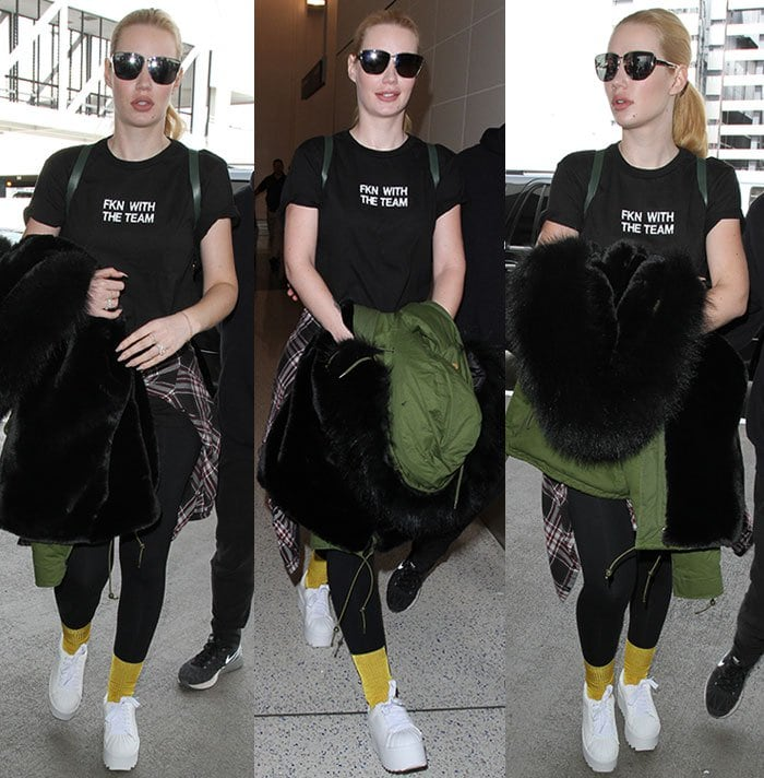 Iggy-Azalea-black-statement-tee-leggings-gold-socks