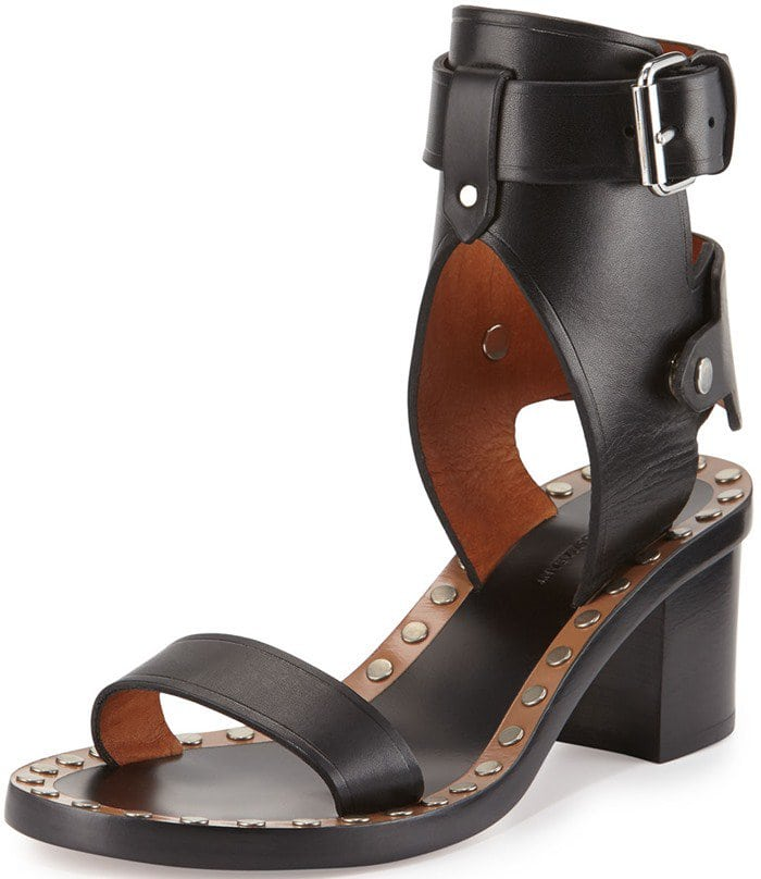 Isabel Marant Jaeryn Studded Two-Tone Ankle-Wrap Sandal