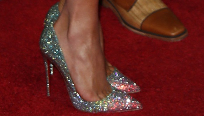 Jennifer Lopez's feet in Christian Louboutin 'Pigalle' ombré crystal pumps