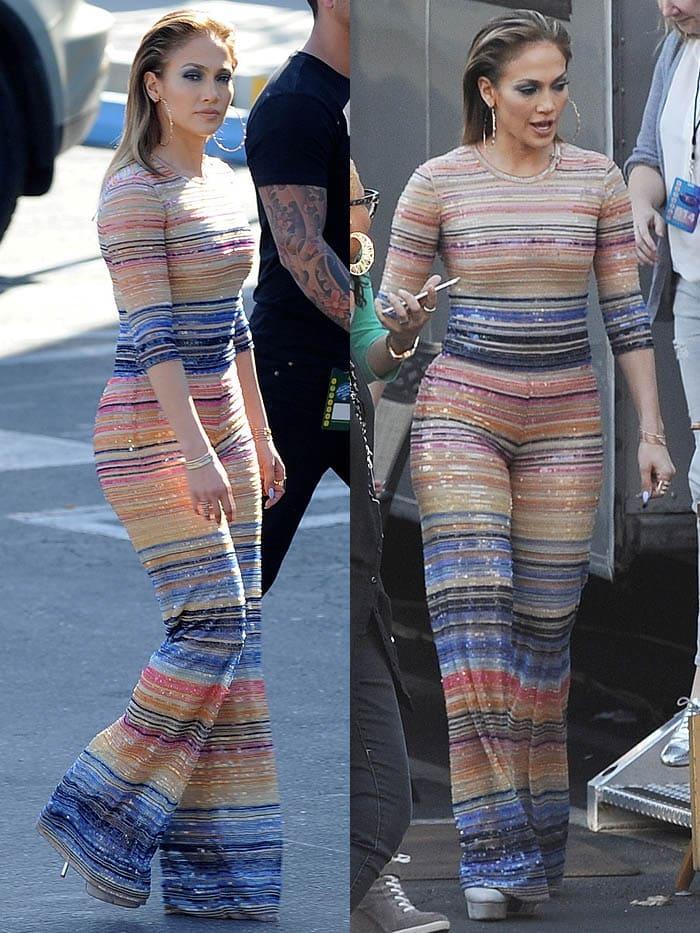Jennifer Lopez striped jumpsuit Casadei pumps 1