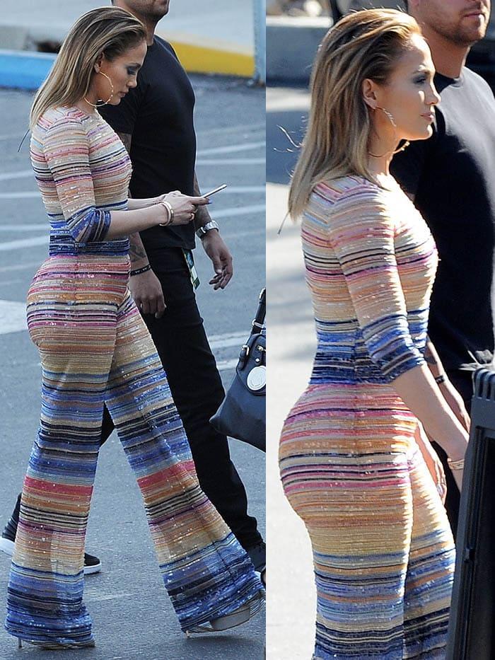 Jennifer Lopez striped jumpsuit Casadei pumps 2
