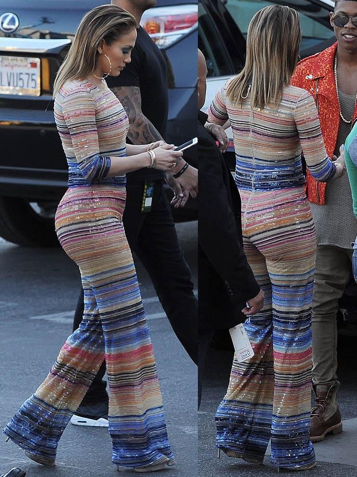 Jennifer Lopez striped jumpsuit Casadei pumps 3