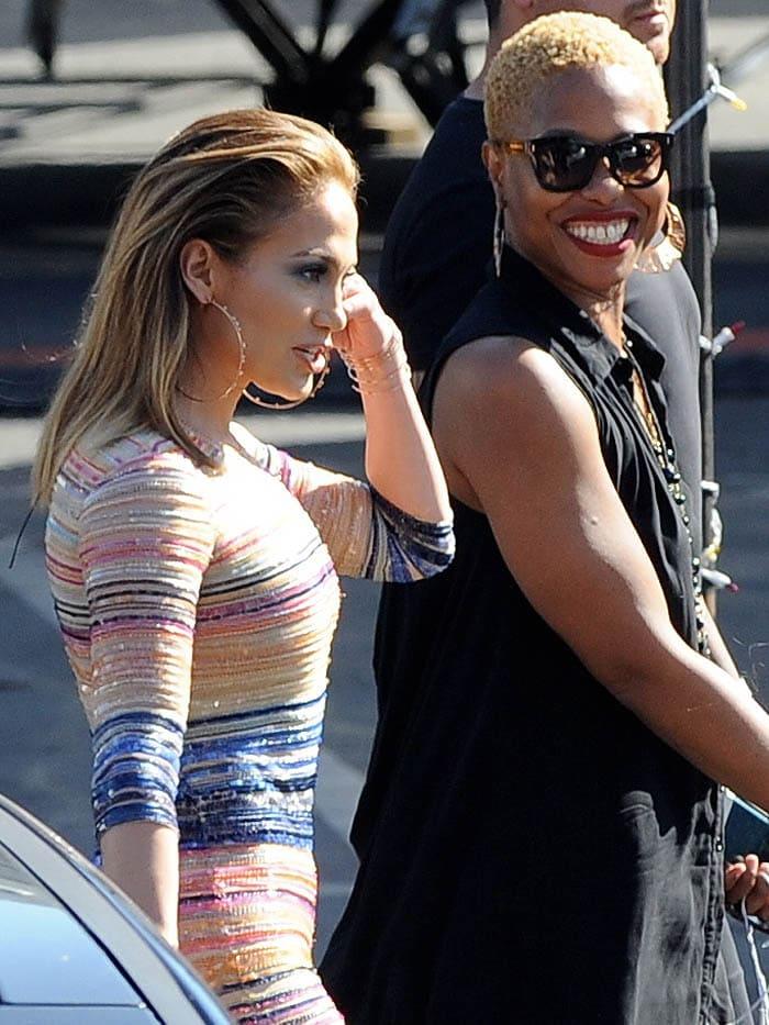 Jennifer Lopez striped jumpsuit Casadei pumps 4
