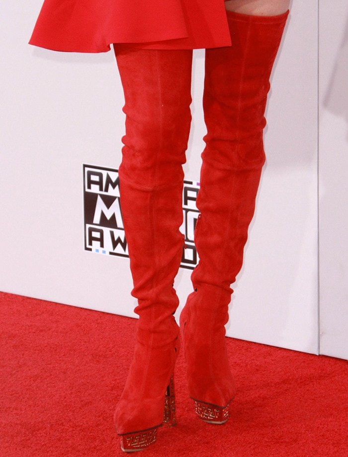 Jenny Mccarthy In Red Stretch Versace Over The Knee Boots
