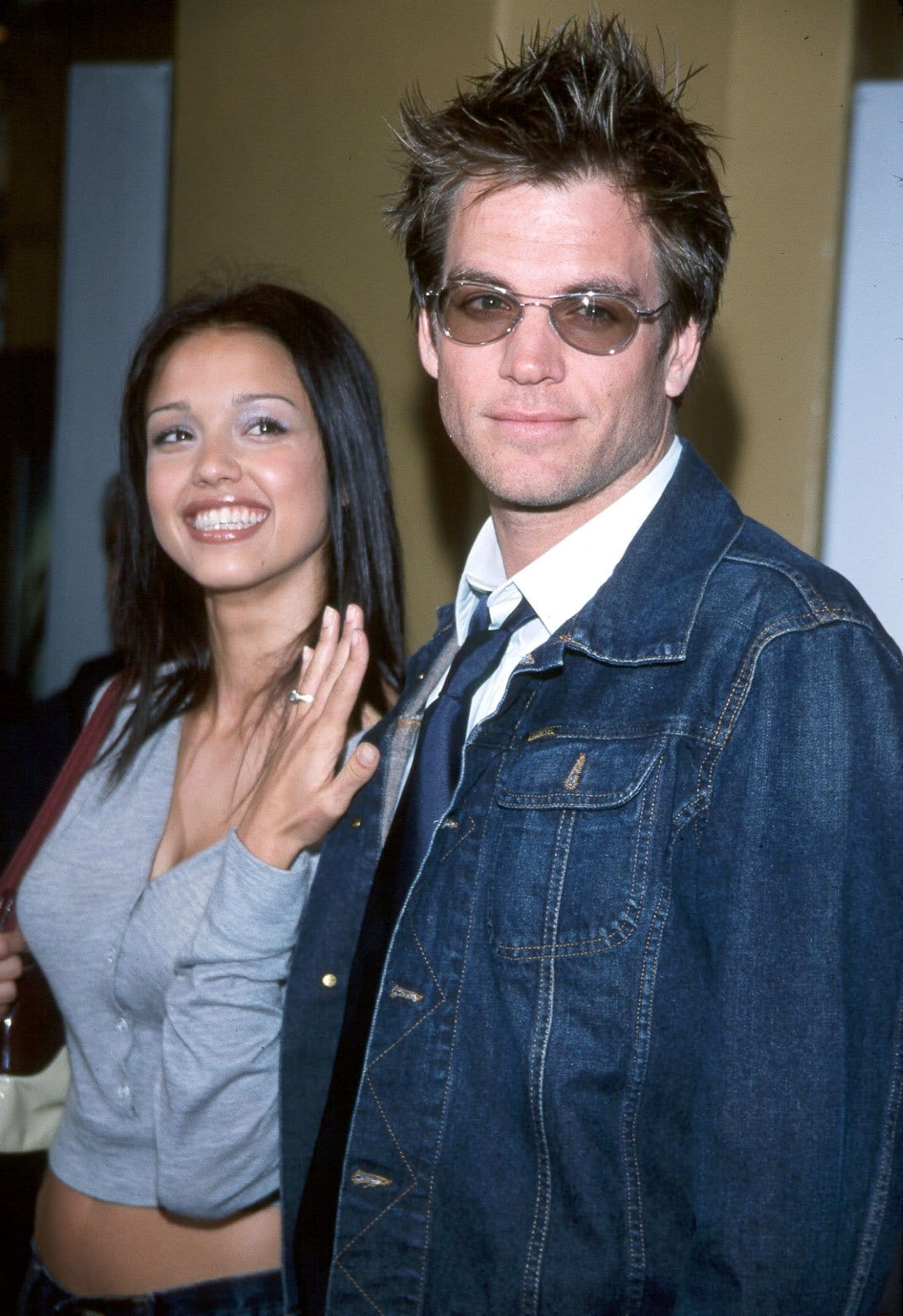 Jessica Alba shows off her engagement ring from Michael Weatherly at the Lara Croft: Tomb Raider premiere