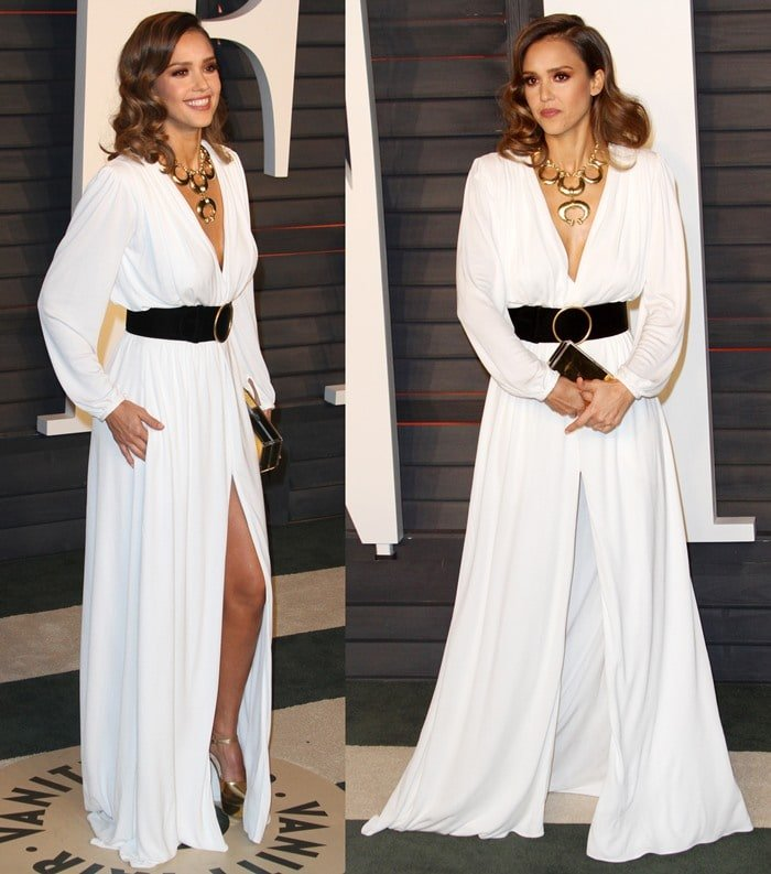 Jessica Alba carries a Jimmy Choo clutch while showing off her legs in a floor-length Roberto Cavalli gown