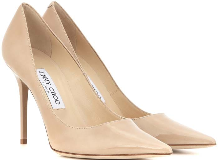 """Nude Jimmy Choo """"Abel"""" Patent-Leather Pumps"""