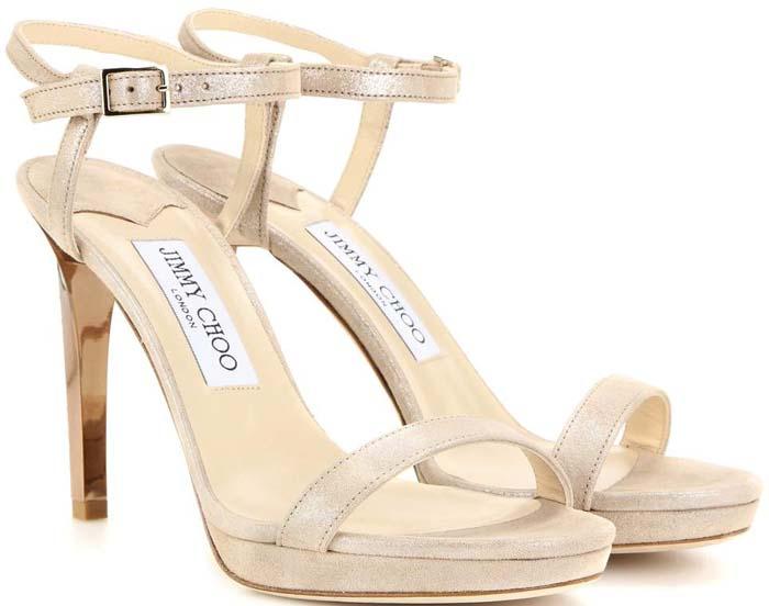 """3118df1af08 Jimmy Choo Claudette Shimmery Leather 120mm Sandal in Nude. """""""
