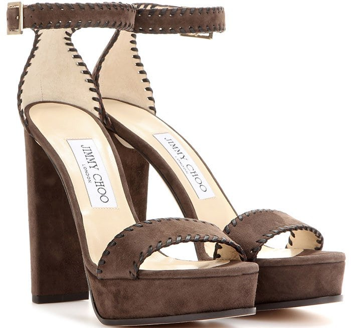 Jimmy Choo Holly Ankle-Strap Sandals Brown Suede