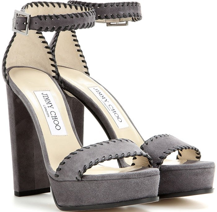 Jimmy Choo Holly Ankle-Strap Sandals Gray Suede