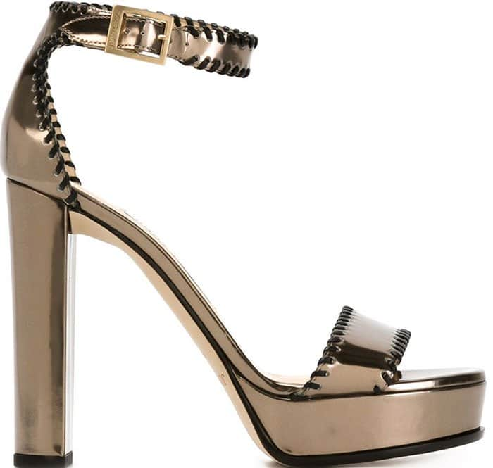 Jimmy Choo Holly Ankle-Strap Sandals Pyrite Leather Platform