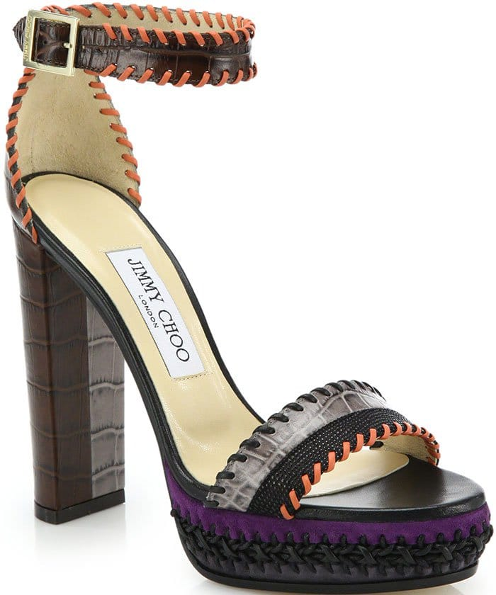 Jimmy Choo Holly Ankle-Strap Sandals Whipstitched Embossed Leather Suede