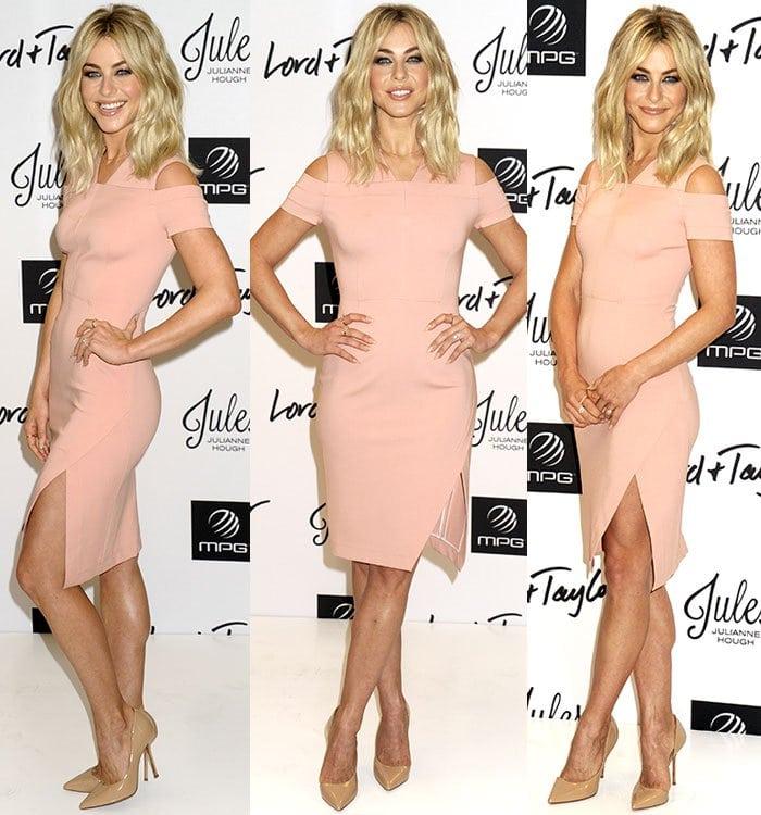Julianne-Hough-Yigal-Azrouel-pale-pink-cold-shoulder-dress