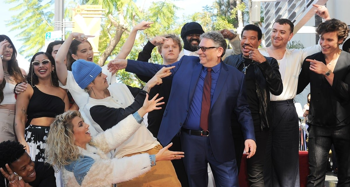 Justin Bieber, Sir Lucian Grainge, Tori Kelly, Sam Smith, Beck, Shawn Mendes, Hailee Steinfeld, Lionel Richie at the induction ceremony for Star on the Hollywood Walk of Fame for Sir Lucian Grainge
