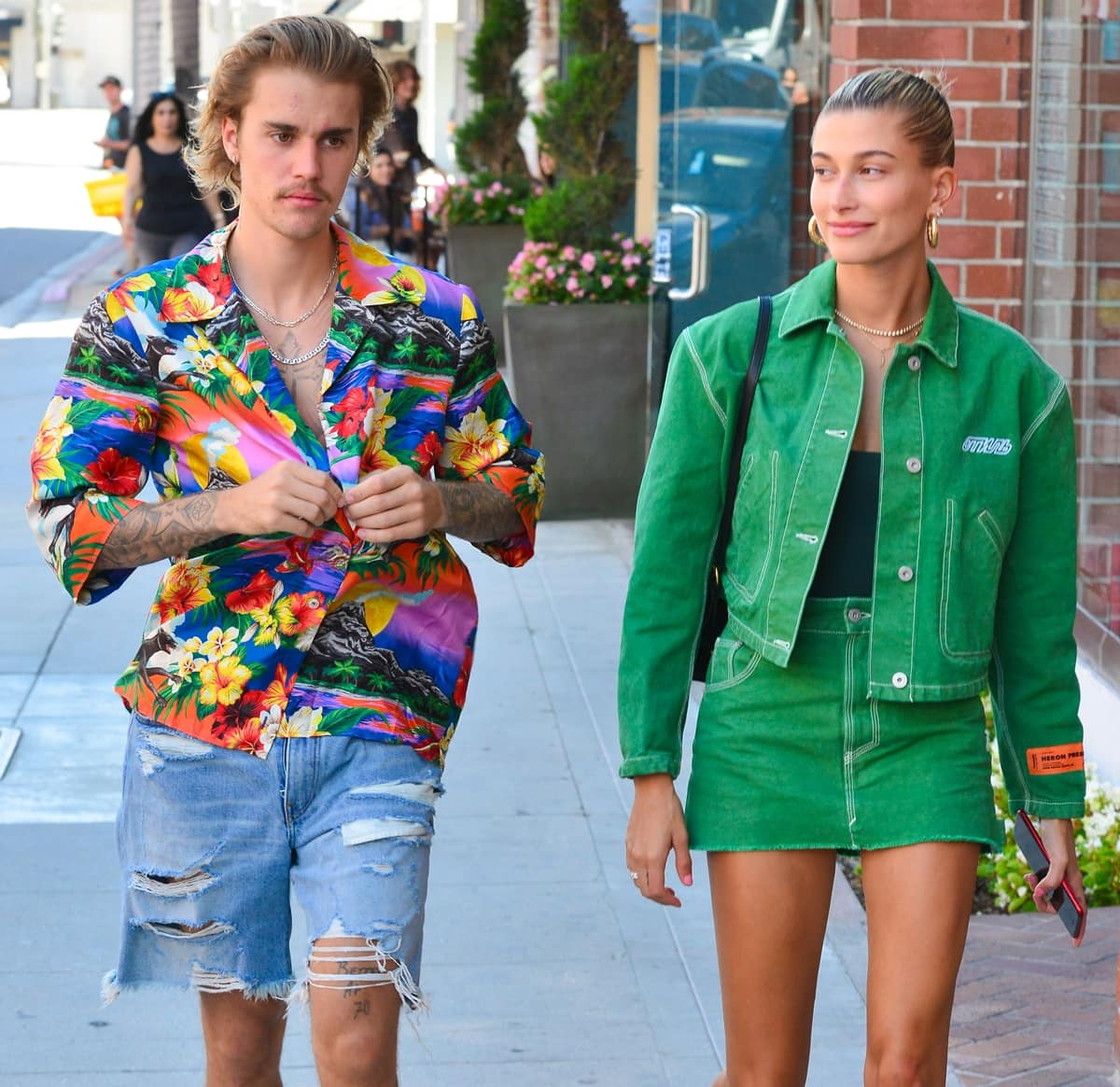 Hailey Baldwin in a green denim jacket and her boyfriend Justin Bieber head to a doctor's appointment
