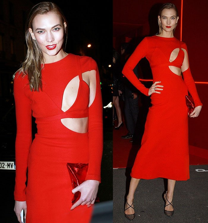 Karlie Kloss at the L'Oreal Red Obsession Party during Paris Fashion Week in Paris, France on March 8, 2016