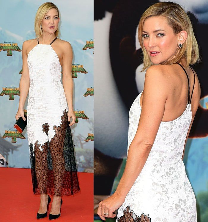 """Kate Hudson shows off her shoulders in a black-and-white Wes Gordon dress at the German premiere of """"Kung Fu Panda 3"""""""