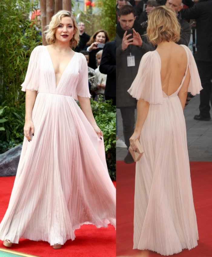 Kate Hudson shows off her back and cleavage in a floor-length J. Mendel gown