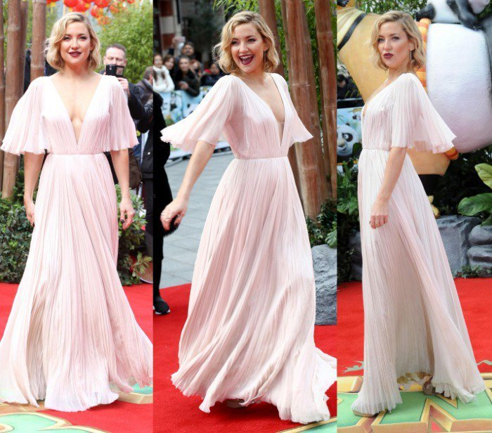 """Kate Hudson wears an organza J. Mendel gown on the red carpet of the """"Kung Fu Panda 3"""" premiere"""