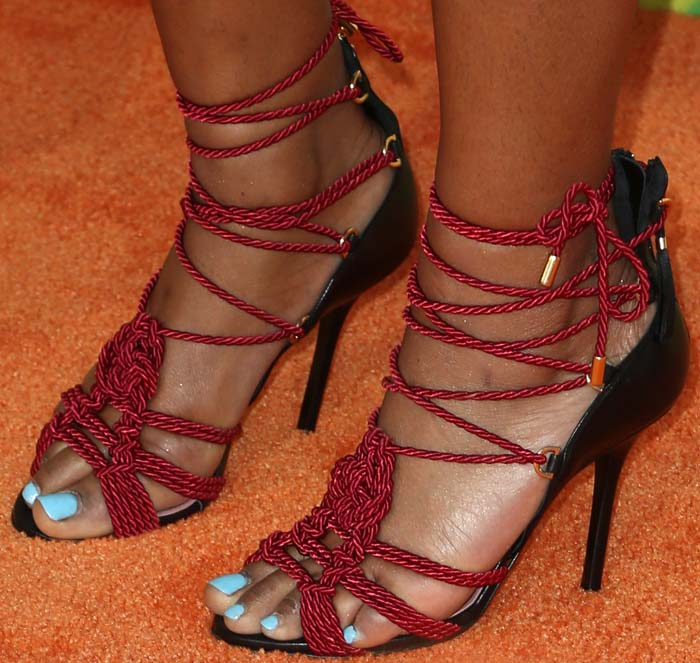 Keke Palmer Debuts New Hairstyle in JF London Sally Sandals