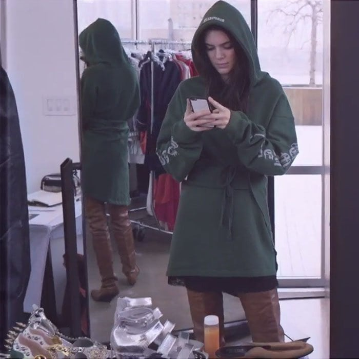 Kendall Jenner green hoodie dress brown thigh boots