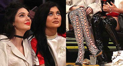 06ca3f825240 Kendall and Kylie Jenner Bust Out Their Baddest Thigh-high Boots for a LA  Lakers Game