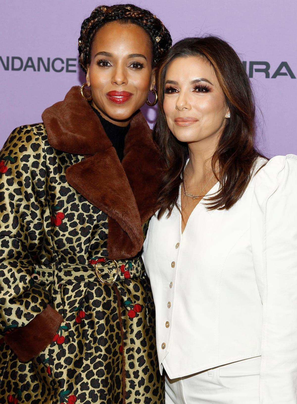 Kerry Washington wore a Sretsis Eva Lolita coat to support her friend Eva Longoria