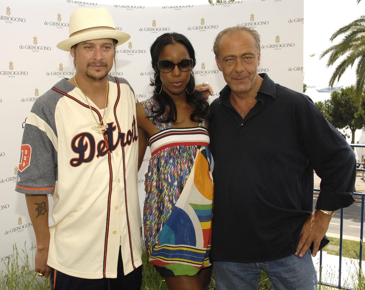 Kid Rock, Kelly Rowland, and Fawaz Gruosi at a photocall held by Swiss jeweler De Grisogono
