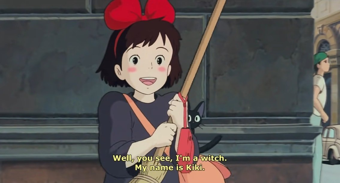 Kirsten Dunst voices a young witch, Kiki, who moves to a new town in the 1989 Japanese animated film Kiki's Delivery Service