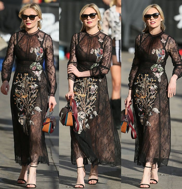 Kirsten-Dunst-Valentino-embroidered-black-lace-dress