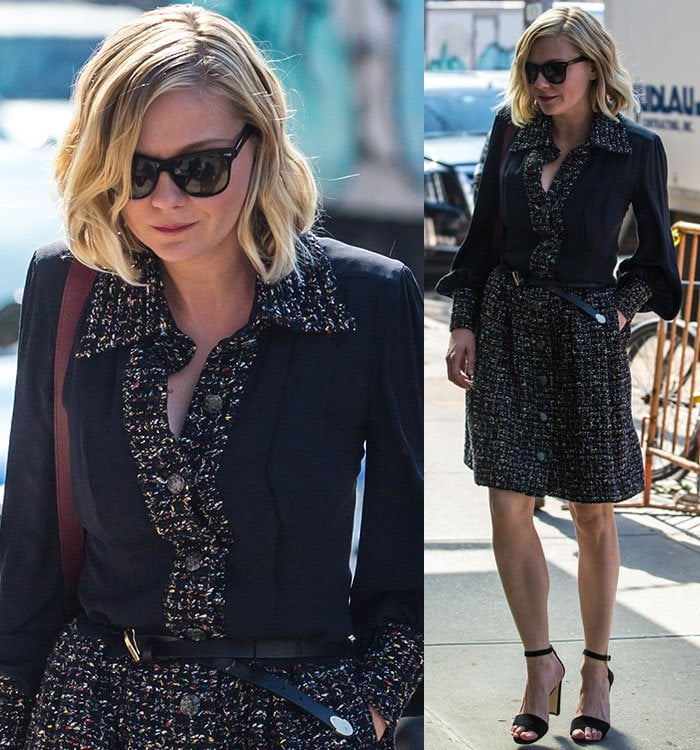 Kirsten Dunst wears a tweed dress as she heads to an AOL Build interview