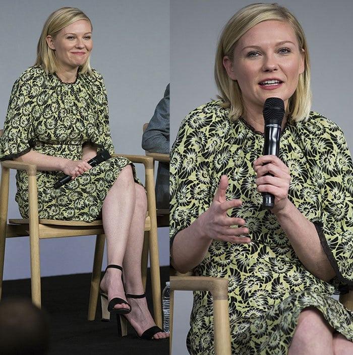 Kirsten Dunst promotes her upcoming film in a patterned dress