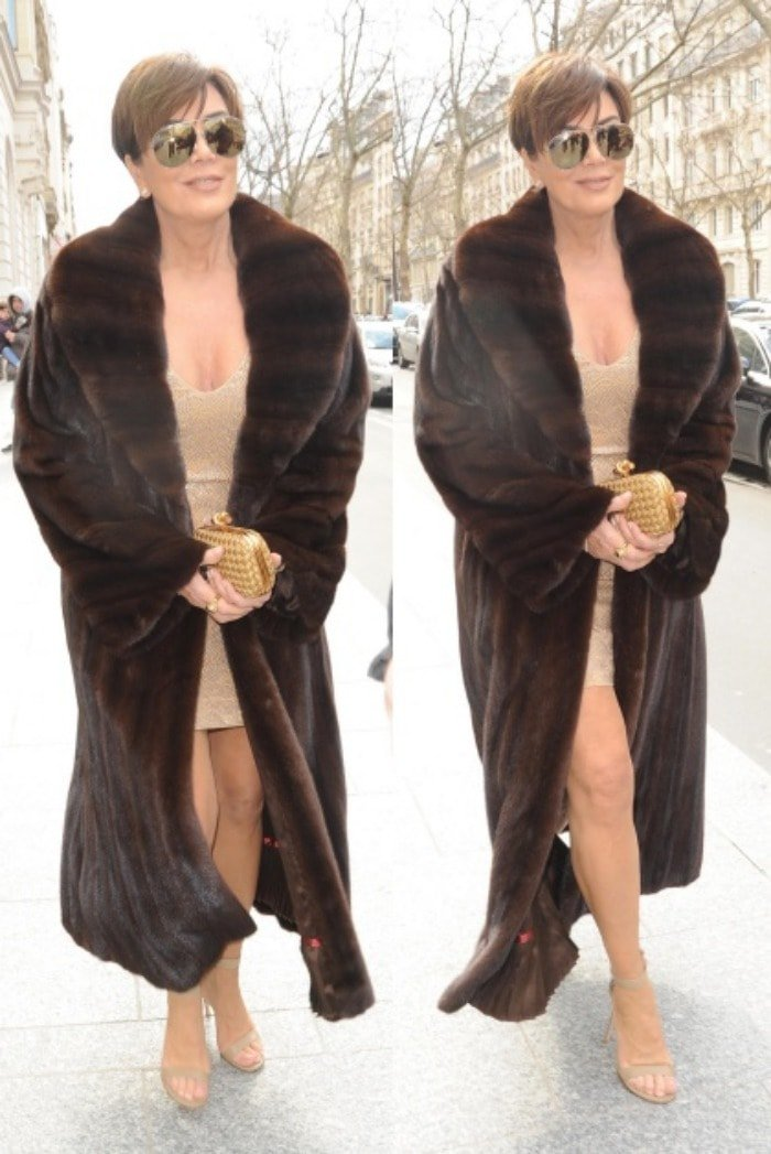 Kris Jenner stepping out of her Parisian hotel on the way to the Balmain show held at the Hôtel Potockion in Paris on March 3, 2016