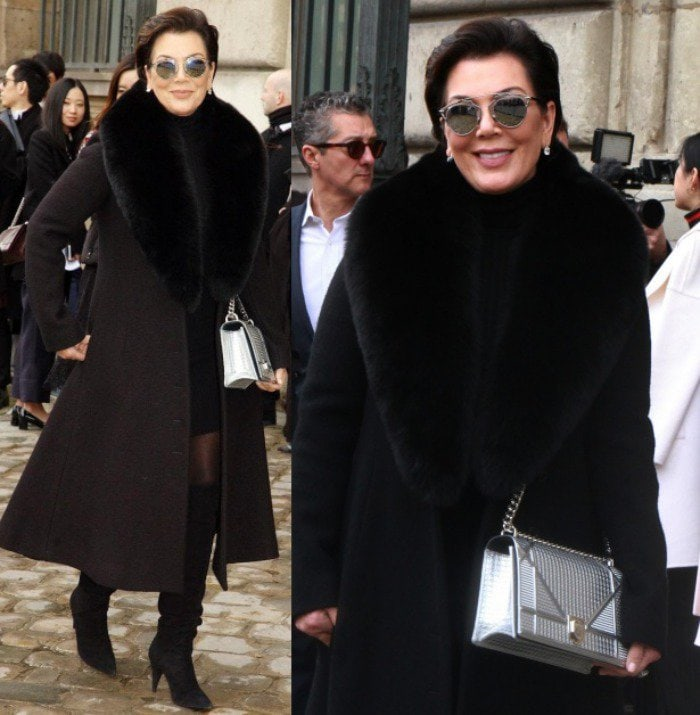 Kris Jenner is all smiles as she heads into the Dior show held inside the Cour Carree at the Louvre Museum on March 4, 2016