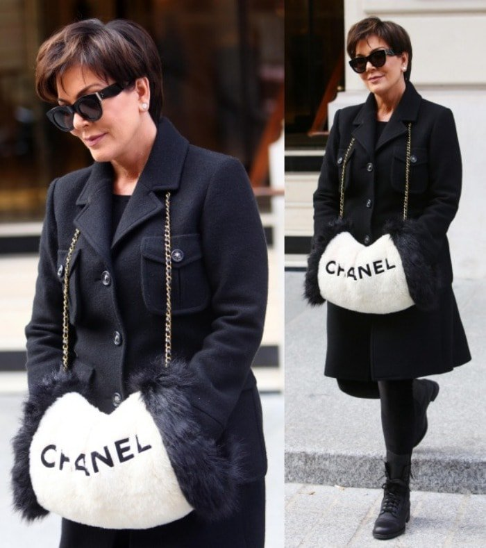 Kris Jenner heads out to attend the Chanel show during Paris Fashion Week, held at the city's Grand Palais on March 8, 2016