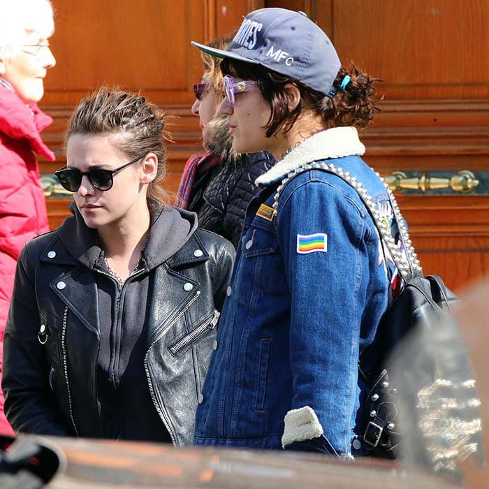 Kristen Stewart wears aSaint Laurent motorcycle D-ring leather jacket