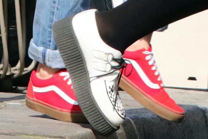 Kristen Stewart's red Vans sneakers and Soko's T.U.K. 'Viva Mondo' white leather creepers