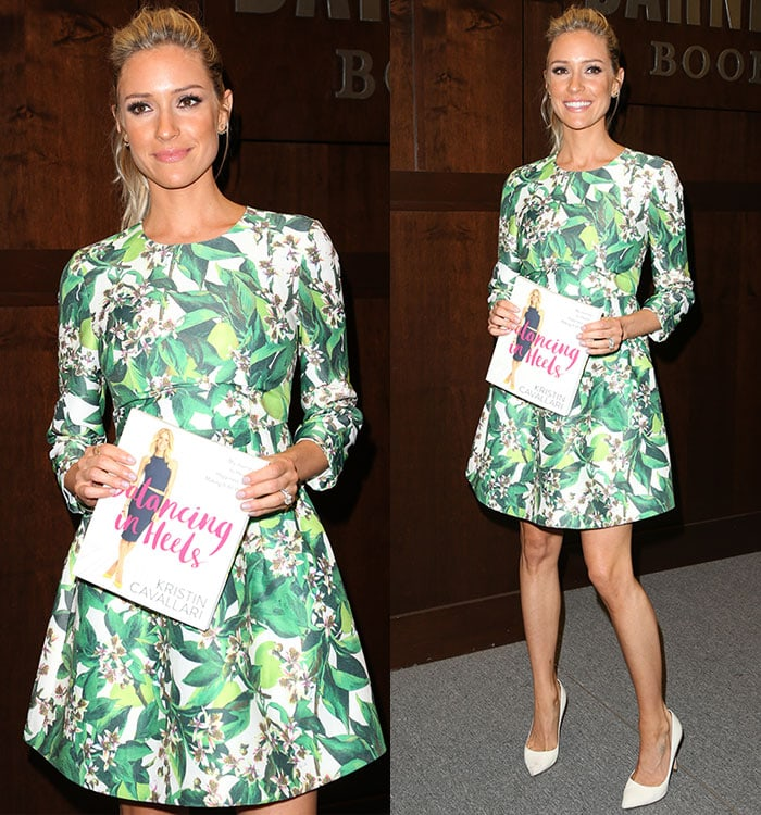Kristin-Cavallari-Blaque-Label-green-floral-long-sleeve-dress
