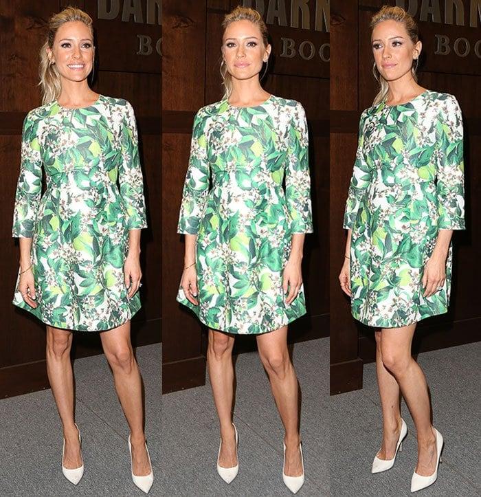 Kristin-Cavallari-legs-green-floral-dress