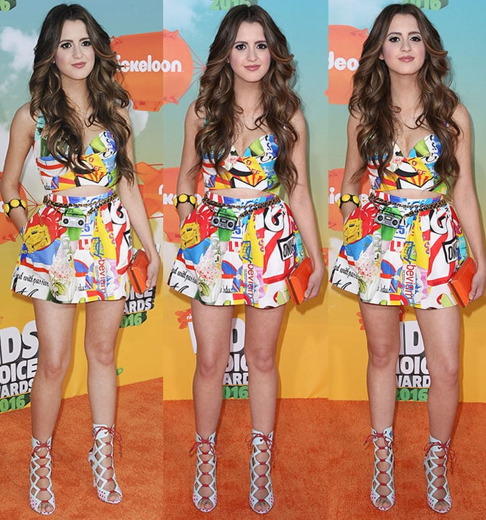 Laura-Marano-cleavage-midriff-legs-Moschino-outfit