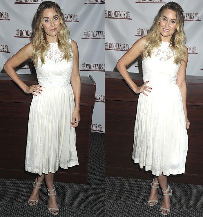 Lauren-Conrad-sleeveless-white-dress-book-signing