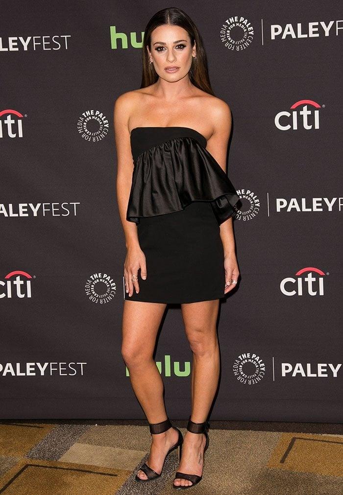 Lea Michele wears a black Jill Stuart dress to PaleyFest