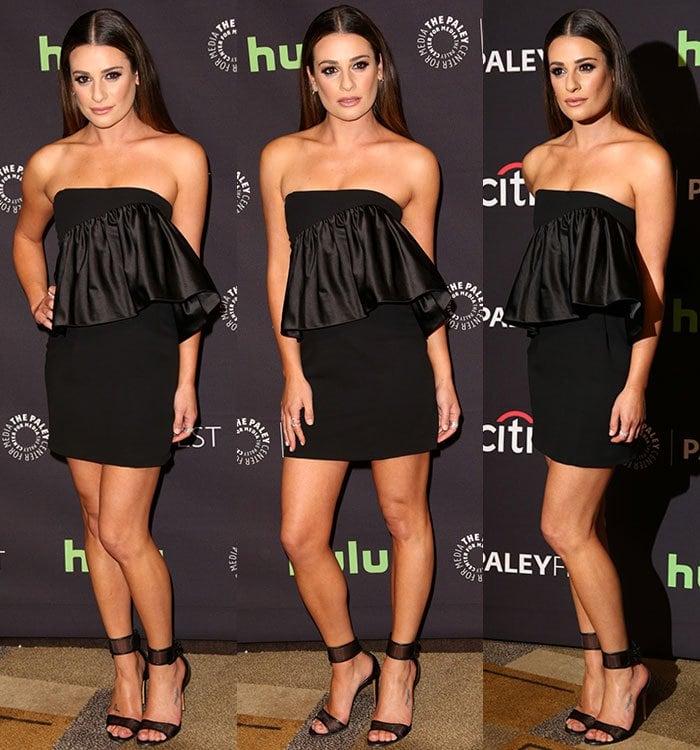 Lea Michelle poses in a black Jill Stuart dress