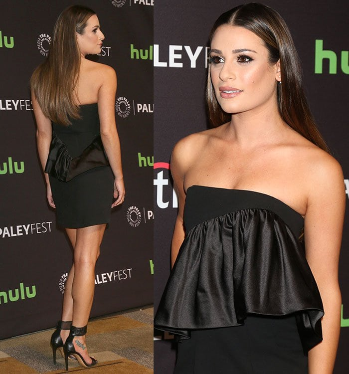 Lea Michele shows off her shoulders and legs in a black Jill Stuart dress at PaleyFest