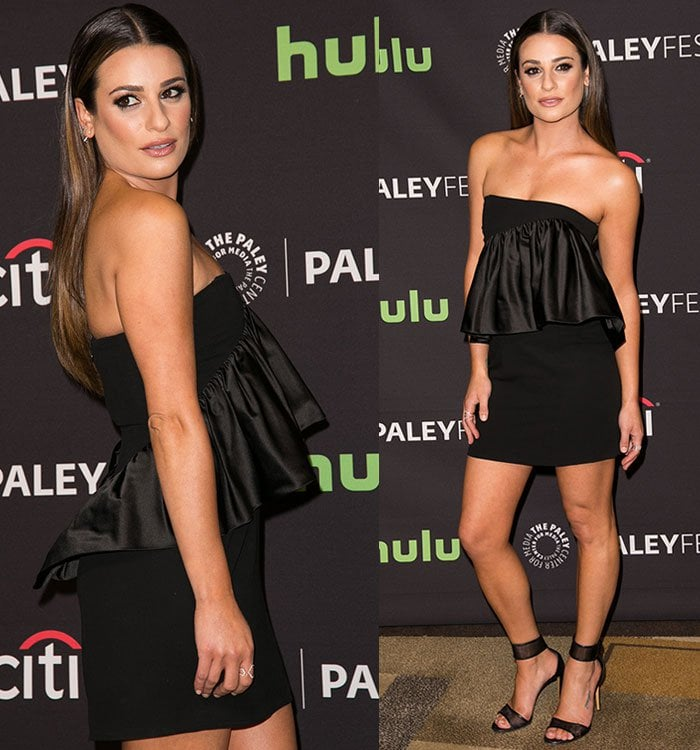 Lea Michele shows off the frilled detail on her strapless Jill Stuart dress
