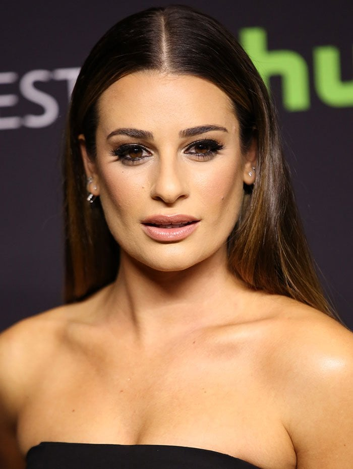 """Lea Michele center parts her hair for the the """"Scream Queens"""" panel held March 12 during 2016 PaleyFest Los Angeles"""